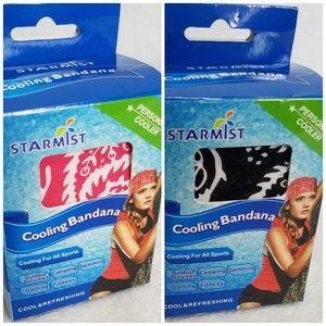 Starmist Cooling Bandana- Set of 2- Red & Black